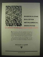 1946 Bausch & Lomb Balcoted Metallurgical Objectives Ad