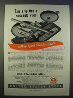1946 United States Steel Ad - Tip from Windshield Wiper
