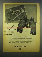 1946 Bausch & Lomb Binoculars Ad - How to Choose