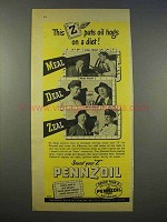1946 Pennzoil Oil Ad - Puts Oil Hogs on a Diet