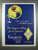 1946 Gilbey's Gin Ad - World Agrees on Gilbey's Please