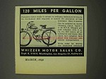1946 Whizzer Motorcycle Ad - 120 Miles Per Gallon