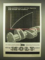 1945 Climax Molybdenum Ad - Cast Iron Strength