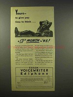 1945 Edison Voicewriter Ediphone Ad - Time to Think