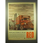1945 REO Truck Ad - Hauling Hogs or Hominy