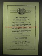 1945 Bank of New York Ad - No Less Urgent