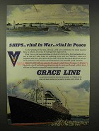 1945 Grace Line Cruise Ad - Ships Vital in War in Peace