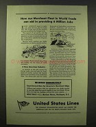 1945 United States Lines Ad - Merchant Fleet in Trade