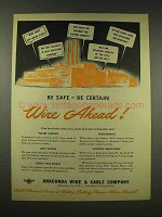 1944 Anaconda Wire & Cable Ad - Be Safe Be Certain