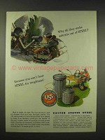 1944 United States Steel Ad - Make Ashcans Out Of