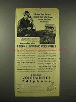 1944 Edison Voicewriter Ediphone Ad - Dictate Letters