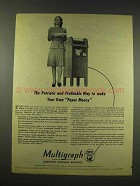 1944 Multigraph Machine Ad - Make Your Own Paper Money