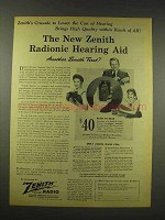 1944 Zenith Radionic Hearing Aid Ad - Lower the Cost