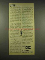1944 CBS Columbia Broadcasting System Ad - Listen