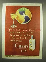 1944 Gilbey's Gin Ad - Most Delicious Martini