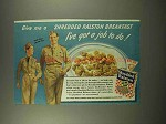1944 Shredded Ralston Cereal Ad - I've Got a Job to Do
