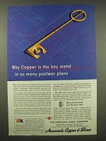 1944 Anaconda Copper & Brass Ad - Key in Postwar Plans