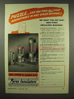 1943 Pyrex Insulators Ad - Advantages in Bushing