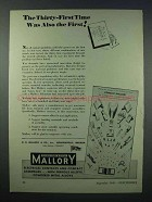 1943 Mallory Electrical Contacts Ad - Also the First