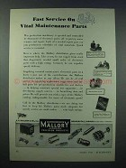 1943 Mallory Electronic Parts Ad - Vital Maintenance