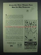 1943 Mallory Electronics Ad - Minute Part Big Moments
