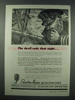 1943 Electro-Voice Microphones Ad - Devil Rode Night