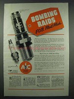 1943 AC Spark Plugs Ad - Bombing Raids