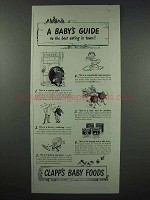 1943 Clapp's Baby Food Ad - A Baby's Guide