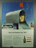 1943 Four Roses Whiskey Ad - Sorry Postman Says No