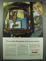 1943 Four Roses Whiskey Ad - Pack Up Your Camera