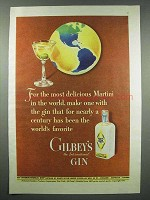 1943 Gilbey's Gin Ad - Most Delicious Martini