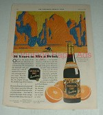 1930 Mission Dry Sparkling Orange Soda Ad, art by Cox