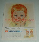 Vintage Northern Paper Towels Ad - Handy Helper, Boy