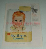 1960 Northern Pale Gold Paper Towels Ad, Boy