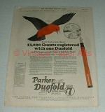 1923 Parker Duofold Pen Ad - 13,000 Guests Registered