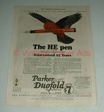 1922 Parker Duofold Pen Ad - The HE Pen