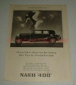 1930 Nash 400 Car Ad - Money Can Buy Nothing Finer