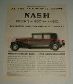 1930 Nash 400 Car Ad - At the Automobile Shows