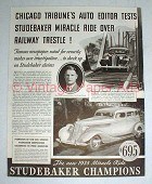 1935 Studebaker Champion Car Ad - Over Railway Trestle