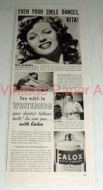 1942 Calox Tooth Powder Ad w/ Rita Hayworth!