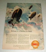 1942 WWII Shell Gasoline Ad w/ Barrage Balloons
