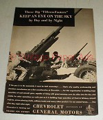 1943 WWII Chevrolet 15-Footer Anti-Aircraft Gun Ad!