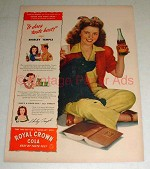 1944 WWII RC Royal Crown Cola Ad - Shirley Temple