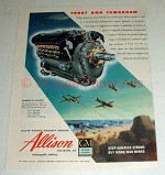 1944 WWII Allison Engine Ad - P-38, P-39, P-40, P-51