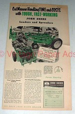1955 John Deere Loader and Spreader Ad - Cut Costs