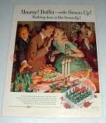 1957 Seven-Up 7-Up Soda Ad - Hooray! Buffet!