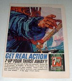 1964 7-Up Soda Ad - Get Real Action!