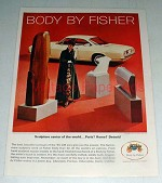 1965 Fisher Ad, Chevrolet Corvair Monza Sport Coupe Car
