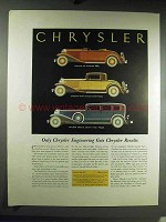 1931 Chrysler Six Roadster, Eight De Luxe Coupe Car Ad