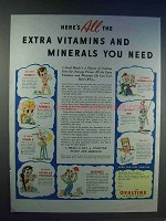 1942 Ovaltine Drink Ad - Extra Vitamins and Minerals